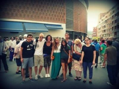 Plaza de toros con estudiantes de español
